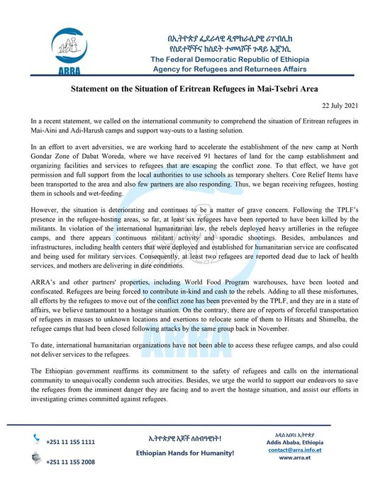 Statement on the Situation of Eritrean Refugees in Mai-Tsebri Area 22 July 2021