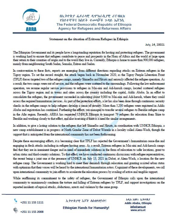 Official Statement on the situation of #Eritrean Refugees in Ethiopia July 14, 2021